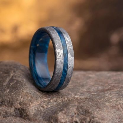 8 mm Blue Box Elder & Meteorite Inlay in Titanium Model #3280