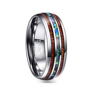 8 mm Tungsten with Dual KOA and Abalone Shell Inlays Model #2015