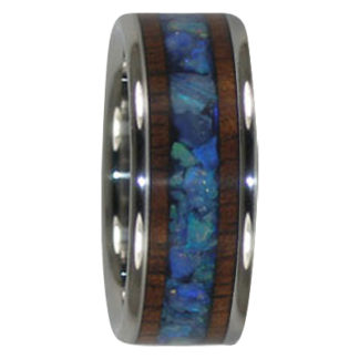 8 mm Australian Opal & KOA Wood in Titanium Model #7005