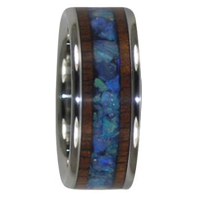 8 mm Australian Opal & KOA Wood in Titanium Model #7005