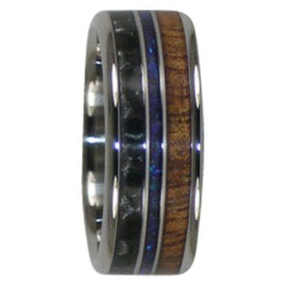 9 mm Australian Opal, Carbon Fiber & KOA Wood in Titanium Model #7010