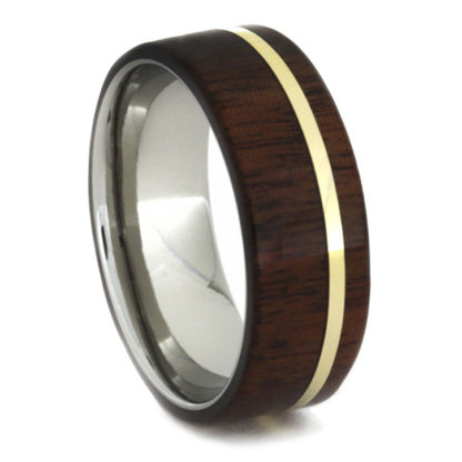 8 mm African Ipe Wood Inlay in Titanium/Yellow Gold Model #3190