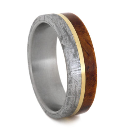 7 mm Amboyna Wood & Meteorite/Gold Inlay in Titanium Model #3260