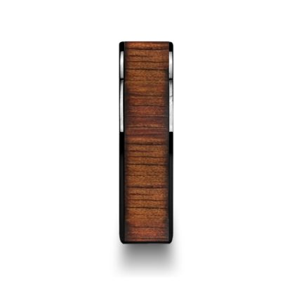 8 mm KOA Wood Inlay Flat Edges in Black Ceramic Model #5005