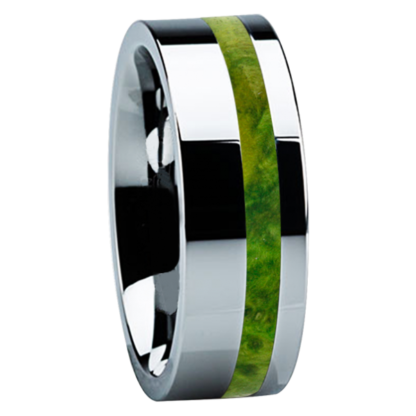 8 mm Green Box Elder Wood Inlay in Tungsten Model #3710