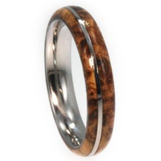 6 mm Black Ash Burl Wood Inlay in Titanium Model #3105