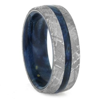 8 mm Blue Box Elder & Meteorite Inlay in Titanium Model #3280