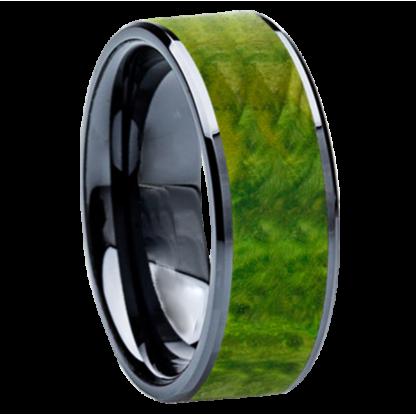 8 mm Green Box Elder Wood Inlay in Black Ceramic Model #3509
