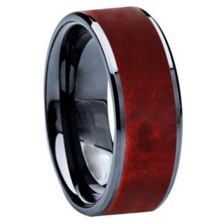 8 mm Red Box Elder Wood Inlay in Black Ceramic Model #3507