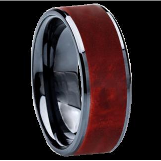 8 mm Red Box Elder Wood Inlay in Black Ceramic Model #3507