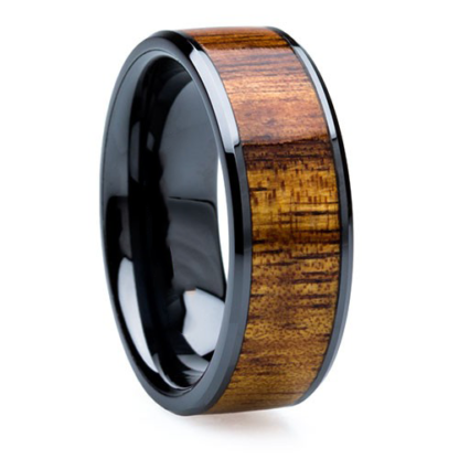 8 mm KOA Wood Inlay in Black Ceramic Model #3510