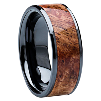 8 mm Sindora Wood Inlay in Black Ceramic Model #3515