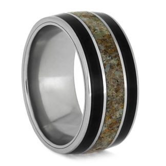 10 mm African Black Wood and Dinosaur Bone Inlay in Titanium #3265