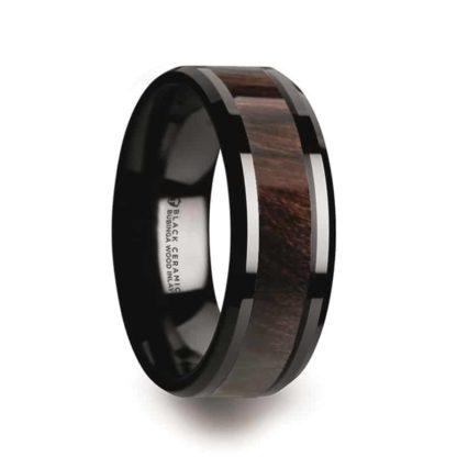 8 mm Bubinga Wood Inlay Beveled Edges in Black Ceramic Model #5010
