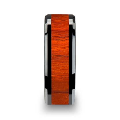 8 mm Padauk Wood Inlay Beveled Edges in Black Ceramic Model #5017