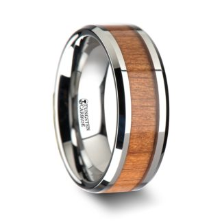 8 mm Black Cherry Wood Inlay Beveled Edges in Tungsten Model #5018
