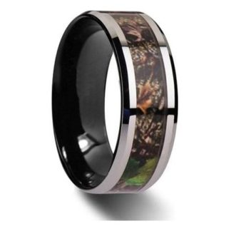 8 mm Black Tungsten with Camo Inlay Model #965