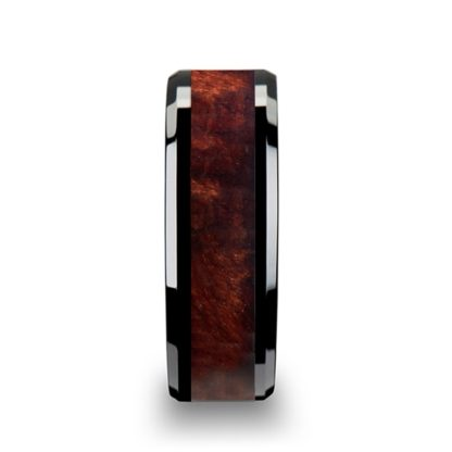 8 mm Redwood Inlay Beveled Edges in Black Ceramic Model #5019