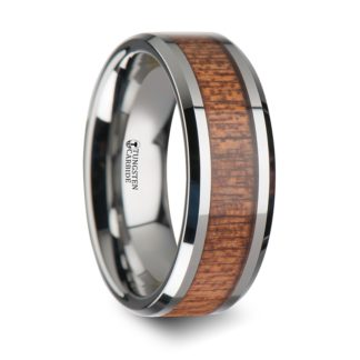 8 mm African Sapele Wood Inlay Beveled Edges in Tungsten Model #5027
