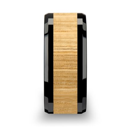 8 mm Ash Wood Inlay Beveled Edges in Black Ceramic Model #5032