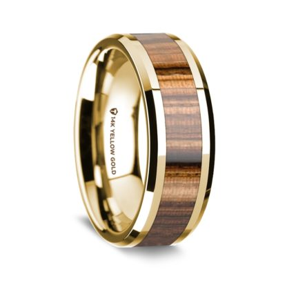 8 mm Zebra Wood Inlay in 14 Kt. Yellow Gold Model #5565