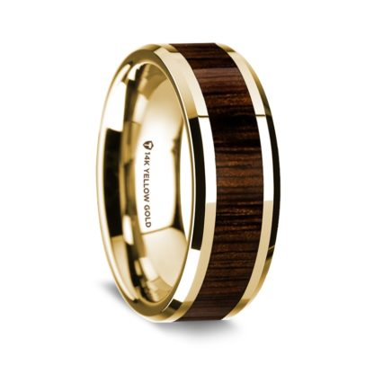 8 mm Black Walnut Wood Inlay in 14 Kt. Yellow Gold Model #5575