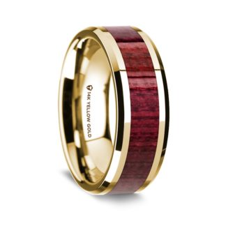 8 mm Purple Heart Wood Inlay in 14 Kt. Yellow Gold Model #5595