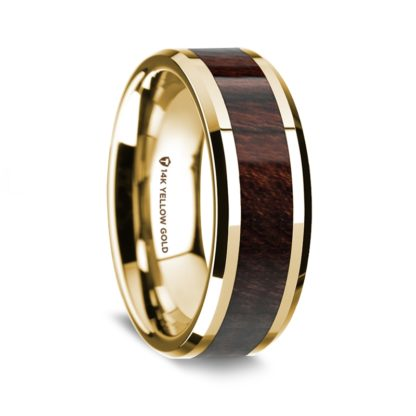 8 mm Bubinga Wood Inlay in 14 Kt. Yellow Gold Model #5580