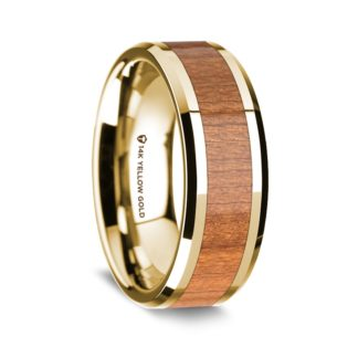 8 mm Sapele Wood Inlay in 14 Kt. Yellow Gold Model #5615