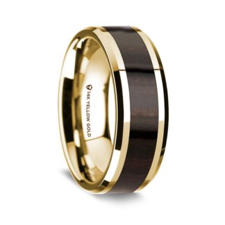 8 mm Ebony Wood Inlay in 14 Kt. Yellow Gold Model #5590