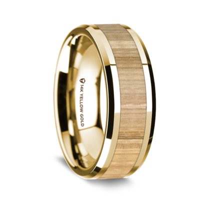 8 mm Ash Wood Inlay in 14 Kt. Yellow Gold Model #5570