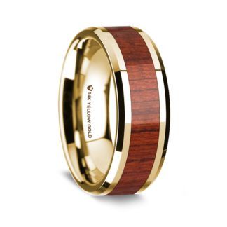 8 mm Padauk Wood Inlay in 14 Kt. Yellow Gold Model #5785