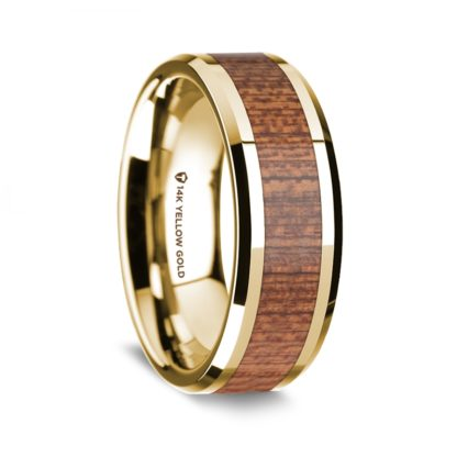 8 mm Cherry Wood Inlay in 14 Kt. Yellow Gold Model #5775
