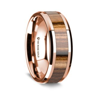 8 mm Zebra Wood Inlay in 14 Kt. Rose Gold Model #5560