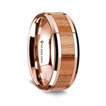 8 mm Red Oak Wood Inlay in 14 Kt. Rose Gold Model #5535
