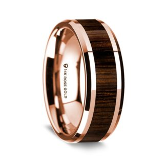 8 mm Black Walnut Inlay in 14 Kt. Rose Gold Model #5500