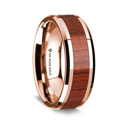 8 mm Padauk Wood Inlay in 14 Kt. Rose Gold Model #5525