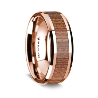 8 mm Sapele Wood Inlay in 14 Kt. Rose Gold Model #5550