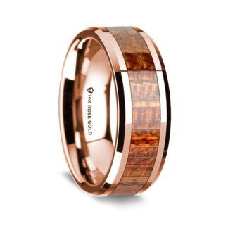 8 mm Mahogany Wood Inlay in 14 Kt. Rose Gold Model #5520