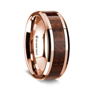 8 mm Carpathian Wood Inlay in 14 Kt. Rose Gold Model #5505