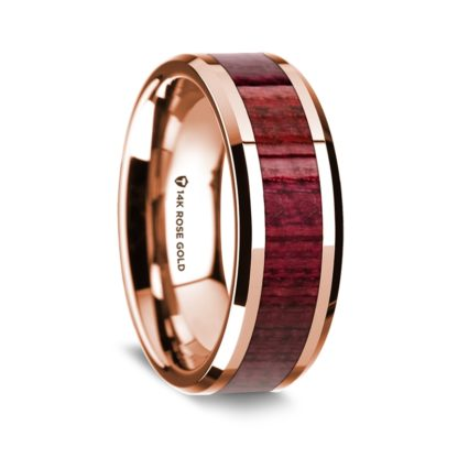 8 mm Purple Heart Wood Inlay in 14 Kt. Rose Gold Model #5530