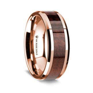 8 mm Redwood Inlay in 14 Kt. Rose Gold Model #5540