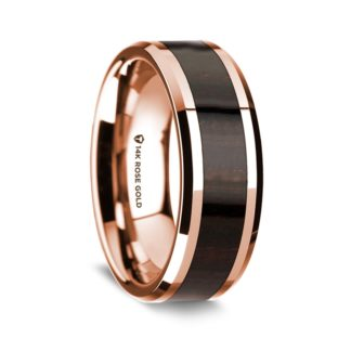8 mm Ebony Wood Inlay in 14 Kt. Rose Gold Model #5515