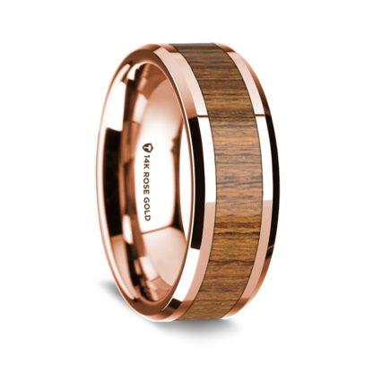 8 mm Teak Wood Inlay in 14 Kt. Rose Gold Model #5555