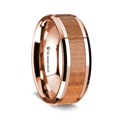 8 mm Cherry Wood Inlay in 14 Kt. Rose Gold Model #5510