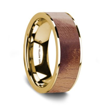 8 mm Olive Wood Inlay in 14 Kt. Yellow Gold Model #5640