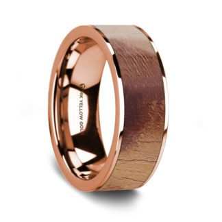 8 mm Olive Wood Inlay in 14 Kt. Rose Gold Model #5635