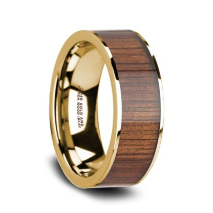8 mm KOA Wood Inlay in 14 Kt. Yellow Gold Model #5630