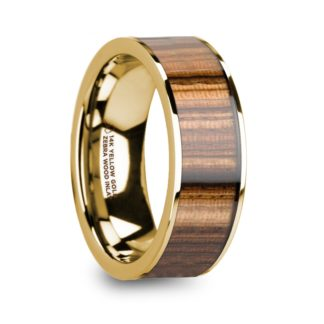8 mm Zebra Wood Inlay in 14 Kt. Yellow Gold Model #5625