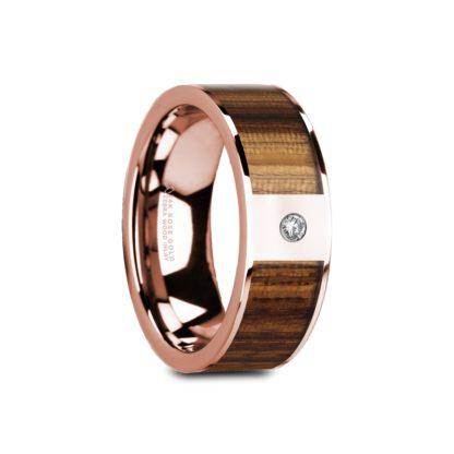 8 mm Zebra Wood & Diamond Inlay in 14 Kt. Rose Gold Model #5645